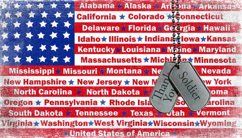 U.S. flag with state names.
