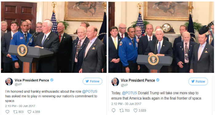 Vice-President Pence to head National Space Council.